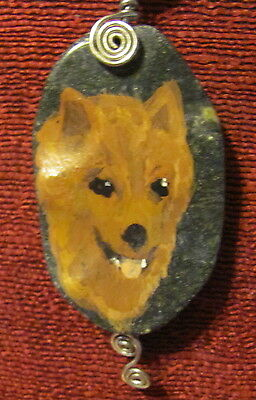 Finnish Spitz hand painted on wire wrapped pendant/bead/necklace