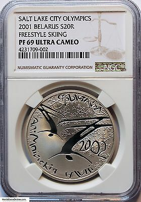 Belarus 2001 Silver 20 Roubles. Freestyle Skiing. Ngc Pf-69 Ultra Cameo.