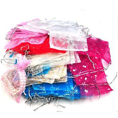 100 Mixed Organza Gift Bags Jewellery Pouch 13cm X 10cm L6