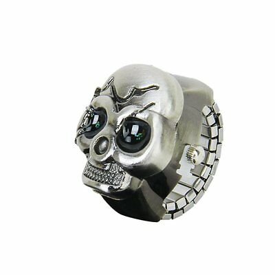 Bronze Flip-Up Skull Cover Finger Ring Watch Stretchy Watchband L6