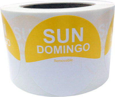 """Removable Food Rotation Labels - 3"""" Round for Sunday/Domingo - 500 Total Labels"""