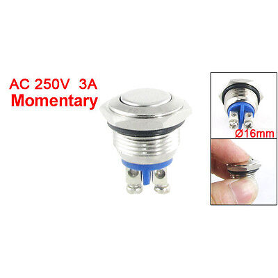 AC 250V 3A NO 16mm Metal Momentary Round Push Button Switch N O Normally Open L6