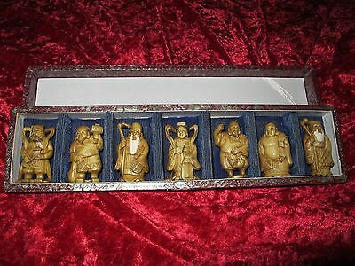 Antique Chinese/Japanese set of Seven statues of Gods, signed