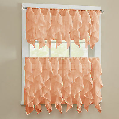 Sheer Voile Vertical Ruffle Kitchen Window Curtain Tiers or Valance - Spice