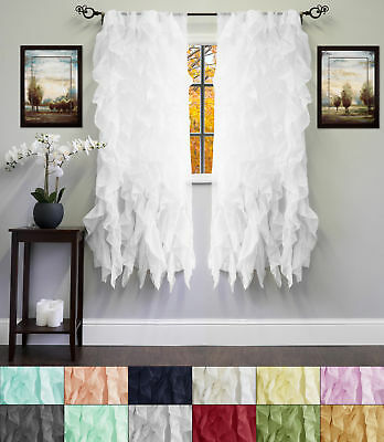 "Chic Sheer Voile Vertical Ruffled Tier Window Curtain Single Panel 50"" x 63"""