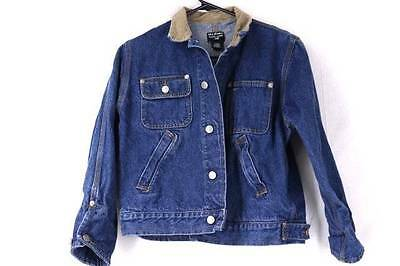Boys Ralph Lauren Vintage 90s Denim Jean Jacket Western Cord Trim Casual Large