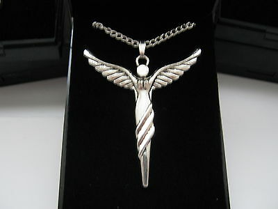 Large Guardian Angel Pendant & Silver Plated Necklaces 18inch with gift box