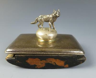 Antique Figural Wolf INK BLOTTER Desk Roller Set Pen Writing Metal Animals