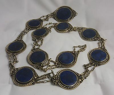 30 inch long AFGHAN ETHNIC KUCHI GEMSTONE LAPIS LAZULI Belt from Afghanistan