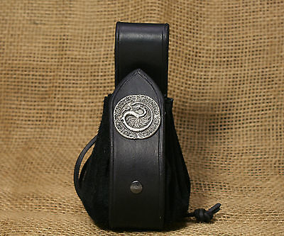 Pouch Coins Bag Dragon Leather black Belt loop Viking Bag Medieval