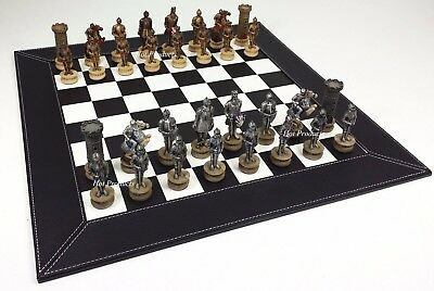 MEDIEVAL TIMES WARRIOR KNIGHT Gold & Silver Chess Set W BLACK FAUX LEATHER BOARD