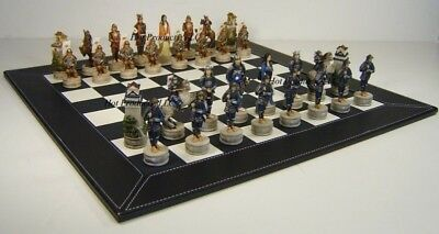 "JAPANESE SAMURAI WARRIOR Chess Set W 18"" BLACK FAUX LEATHER BOARD"