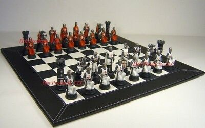 MEDIEVAL TIMES CRUSADES WARRIOR red & white Chess Set BLACK FAUX LEATHER BOARD