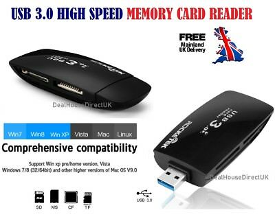 USB 3.0 High Speed CF SDXC microSD TF All in 1 Memory Card Reader PC MAC NEW UK