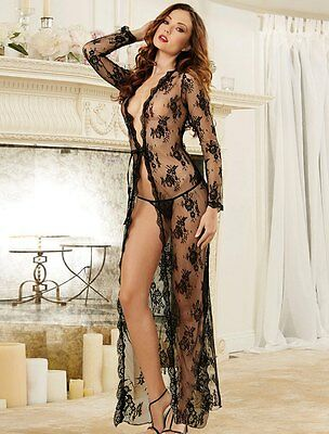 Sexy Black Floral Delicate Lace Gown Long Transparent Night Dress UK 10-20