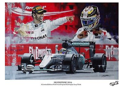 LEWIS HAMILTON A3 limited edition print signed by artist Greg Tillett. FORMULA1