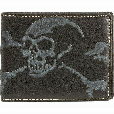 Mens Black Leather Embossed SKULL BI-FOLD WALLET Photo ID Holder Biker Billfold
