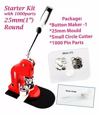 "(25mm(1"" Kit)) Button maker + 25mm Mould + 1000 pin parts + Circle cutter"