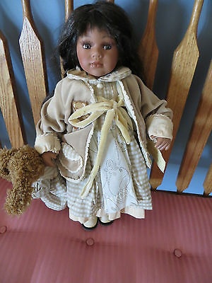 Show Stoppers FRIENDS African American Black Porcelain Doll w/Bunny 15""