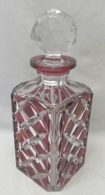 Val St.Lambert Cranberry Cut to Clear Crystal Decanter c.1920