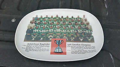 Saskatchewan Roughriders 1966 Grey Cup Champions Serving Plate Platter Melmac