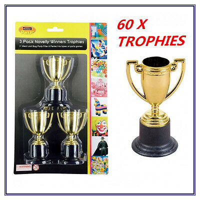 60 X Mini Small Novelty Party Gold Trophies - Birthday Party, Event, Olympic Fw