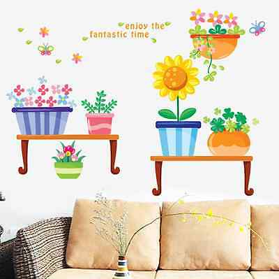 Cartoon Potted plants Creative garden Background decoration Wall Stickers