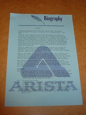 Lou Reed 1977 Arista Records Press Release