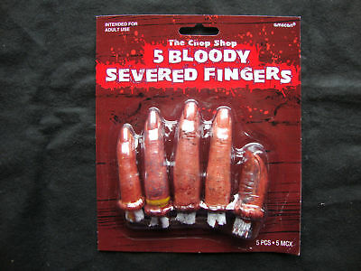 5 x Halloween Severed Bloody Fingers Halloween Props  Chop Shop Bloody Body Part