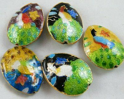 20pcs Cloisonne Enamel 2Sides Peacock Pattern Oval Spacers 25x18mm