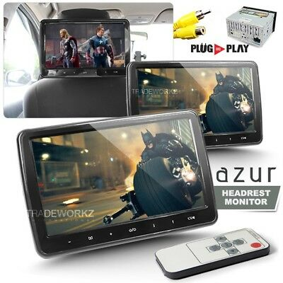 "New Pair AZUR 10.1"" Headrest Car DVD Monitor Screen Touch Panel Full HD (Japan)"