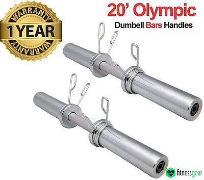 """20"""" Olympic 2"""" Dumbbell Bars & Spring Collars Set Weight Lifting Handles Gym"""