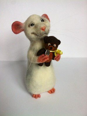 Handmade Felted Rat Teddy Wool Eco Friendly Handcrafted Home Interior Toy Kids