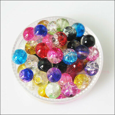 Charms Glass Crackle Loose Round Ball Spacer Beads Mixed 4mm 6mm 8mm 10mm 12mm