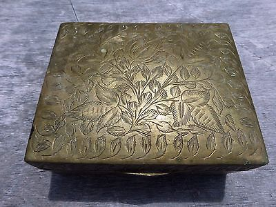 Vintage box in brass with art on the sides 3-1/2 x 4 x 1-1/2