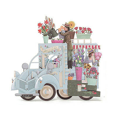 3D Pop Up Greeting Cards Car with Flowers Happy Birthday Valentine Christmas