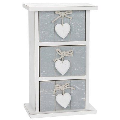 Provence Grey Three Drawer Chest With Hearts 26 X 16Cm Shabby Chic Design