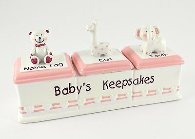 Baby Keepsake Box Triple Girl Pink Nametag Curl & Tooth Box Sentiment Gift Boxed