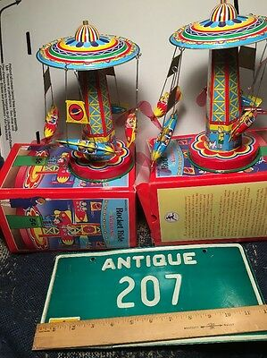 Lot of 2 Year 2000 Schylling Collector Series Rocket Ride Tin Toy Carousel Works