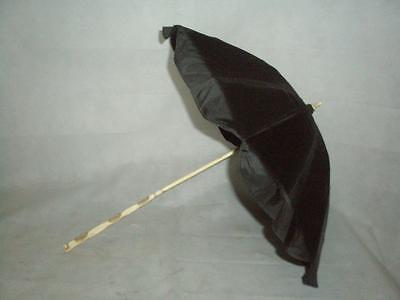 *antique Ladies Parasol-Black Canopy-Carved Bovine Bone Handle And Shaft-Petite*