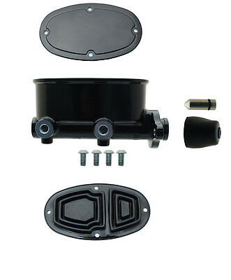 """Wilwood Style Black Tandem Oval Master Cylinder with 1"""" Bore, 260-8555-BK -MBM"""