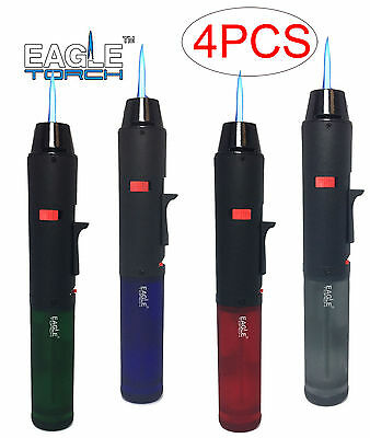 4 Pack Eagle Torch Pen Gun Cigar Lighter Butane Refillable Semi-Transparent Tank