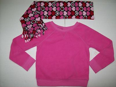 Girls Size M 7-8 Pink Microfleece Sweatshirt and Heart Print Scarf 2 Piece Set
