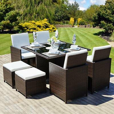 Modern Outdoor Rattan Garden Furniture 9 PCS Cube Dining Table & Chairs Set
