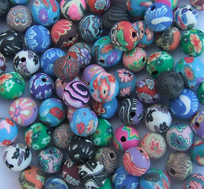 100 x Round Polymer Clay Beads of Mixed Designs and Colours - 8mm