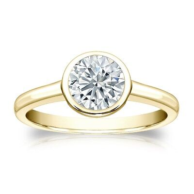 3 Ct Round Cut Solitaire Bezel Engagement Wedding Ring Solid 18K Yellow Gold