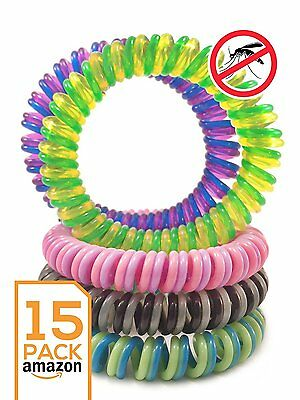 Mosquito bug Repellent Bracelet Double Colored Insect  Band INDOORS & OUTDOORS