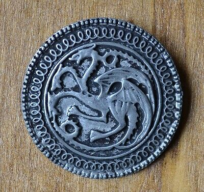 Game of Thrones Dragon House Targaryen Brooch Pin Badge Antique Silver