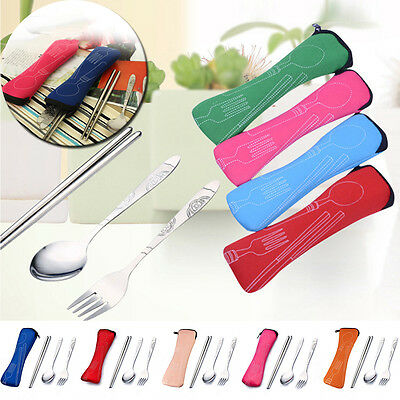 Fork Spoon Travel Stainless Steel Chopstick Cutlery Portable Camping Bag Picnic