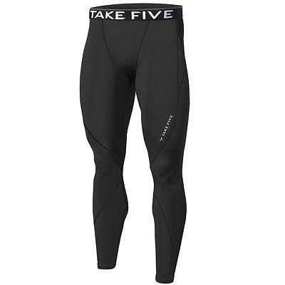 Mens Black Compression Pants Sports Base Layer Long Tights Running Gym Take 5